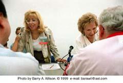 Lauren Siegel Larson and Joanne Siegel at the 1996 San Diego Comic Con